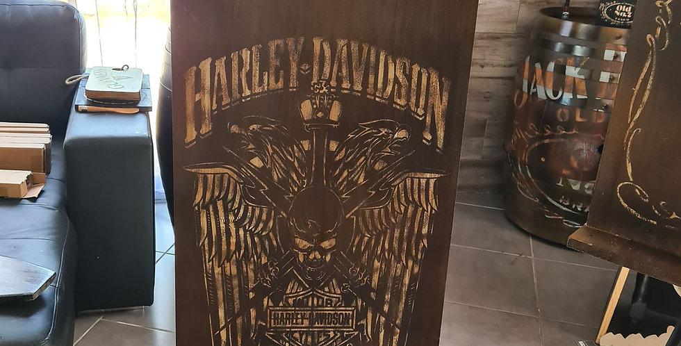 Support queue de billard gravé Harley Davidson