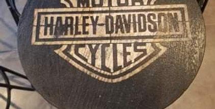Tabouret gravé Harley Davidson