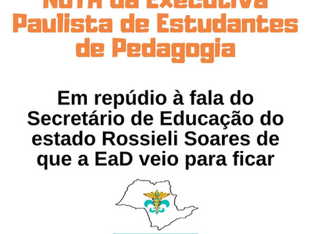 Nota da EEEPe-SP em repúdio à fala do Secretário de Educação