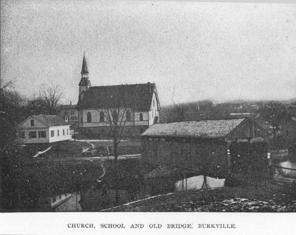 Church, school, and Burkeville covered bridge, Conway, Mass.