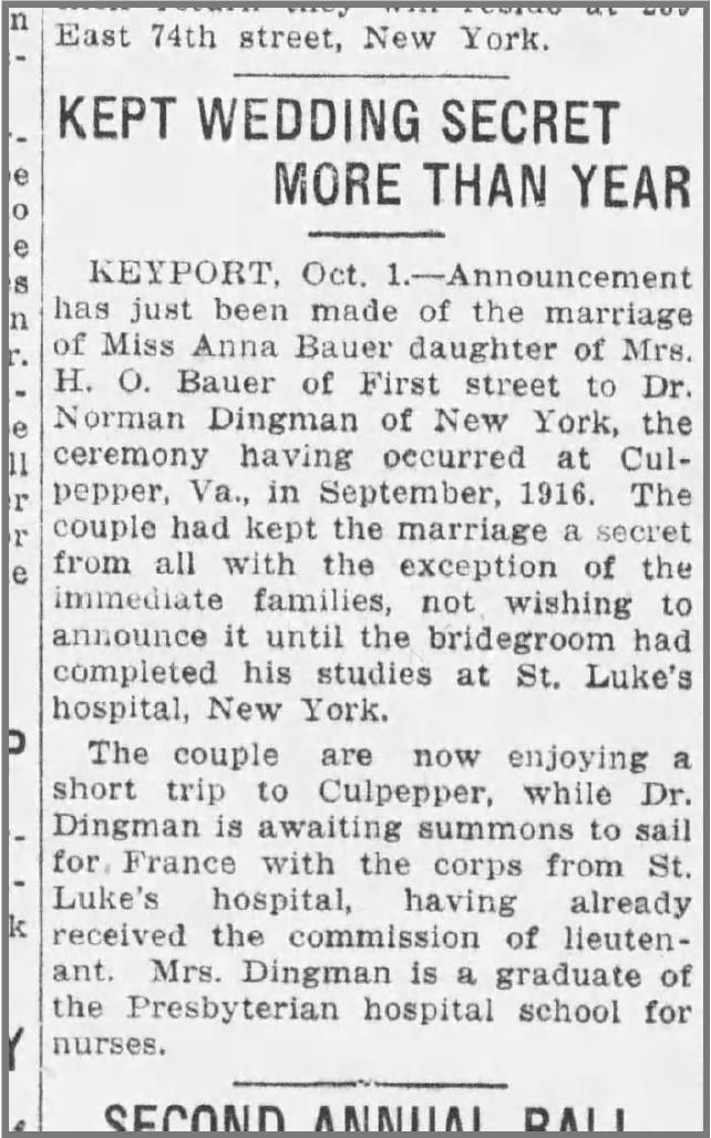 Wedding announcement for Ann Bauer and Norman Dingman