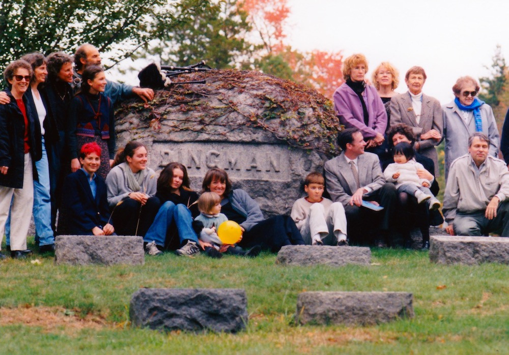 Dingman boulder with Dingman descendants