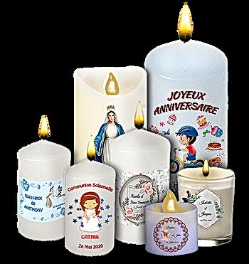 36 chandelles, bougies personnalisées pour naissance, bapteme, communion, mariage, anniversaire