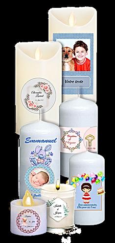 bougies personnalisées naissance, baptême, mariage, communion, bougies personnalisées avec photo