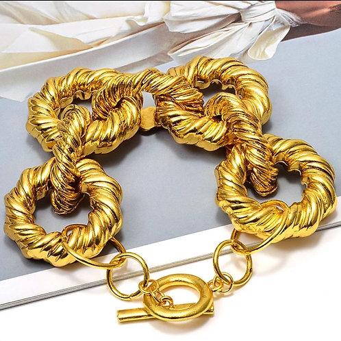 Gold Metal Hoops Bracelet
