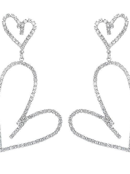 Rhinestone Large Love Heart Drop Earrings
