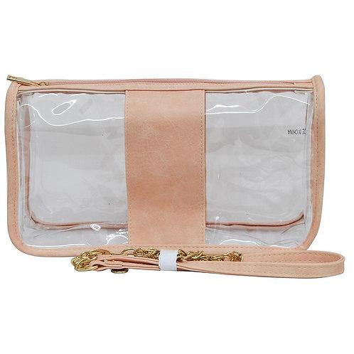 Peach Vinyl with Faux Leather Trim Shoulder Bag