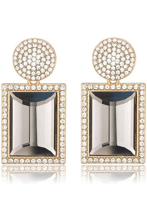 Rhinestone Crystal Rectangle Dangle Earrings