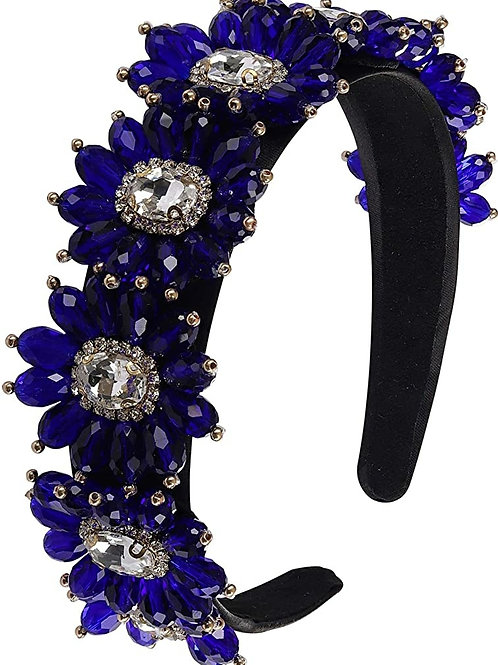 Blue Saffire Crystal Flower Jeweled Headband