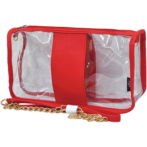 Red with Faux Leather Trim Shoulder Bag