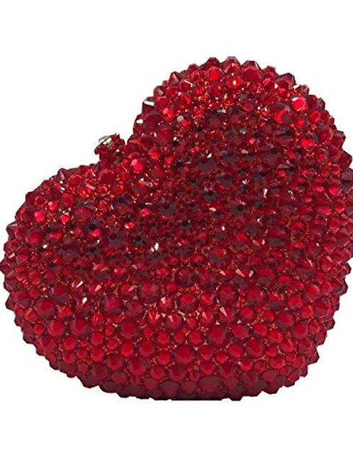 Ruby Red Heart Shaped Diamond Handbag
