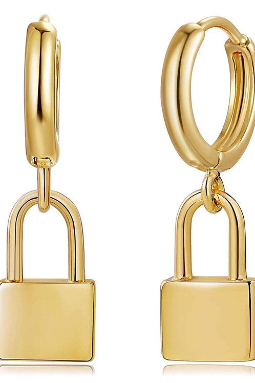 Gold Huggie Hoop Earrings Star Cross Lock