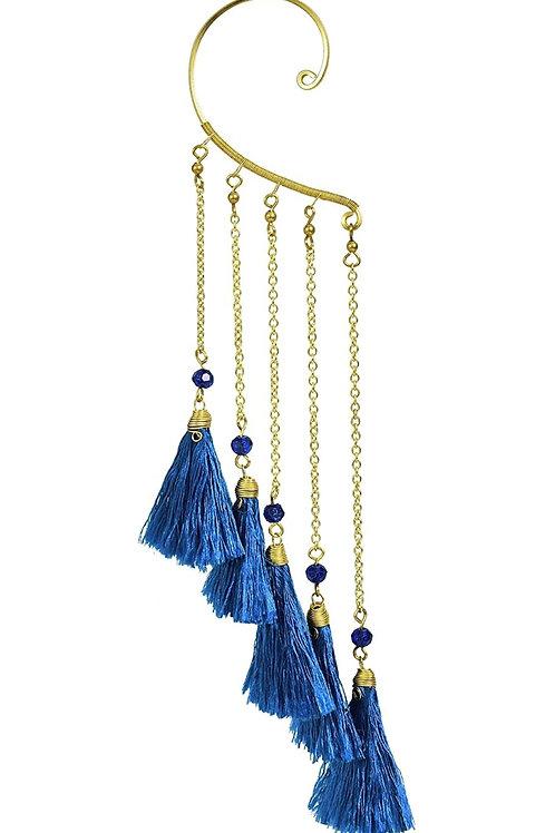 Trendy Multi Blue Tassel Brass Chain Statement