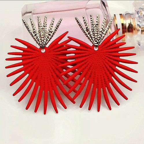 Red - Gold Geometric Zinc Alloy Earrings