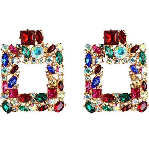 Rectangle Multi-colored Rhinestone Earrings