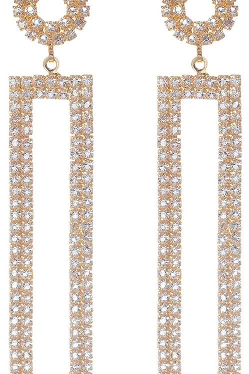 Gold Plated Rhinestone Long Drop Earrings,