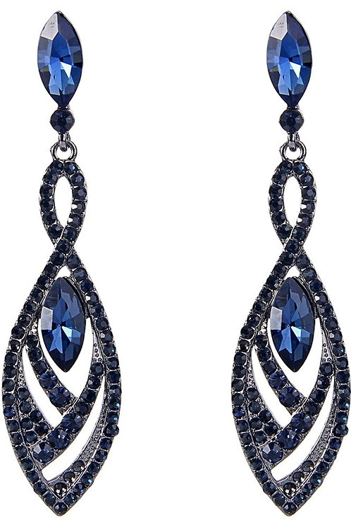 Double Marquise Shape Dangle Earrings Blue Sapphire