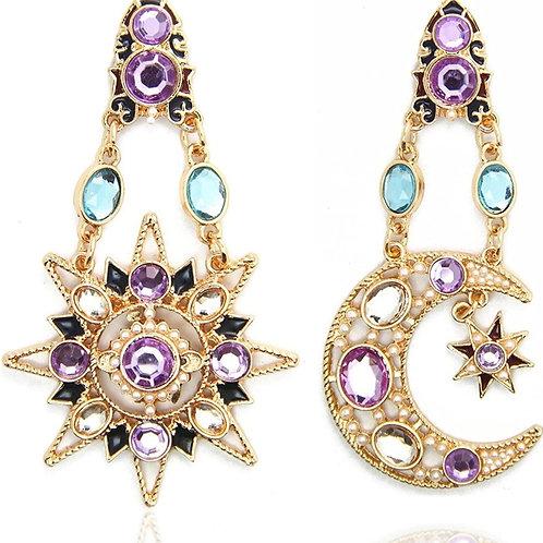 18K Real Gold Plated Heavenly Body Asymmetrical Earrings