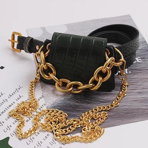 Crocodile Pattern Vintage Leather Metal Lock Crossbody Bag