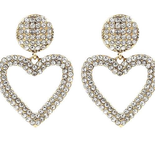 Crystal Heart Love Drop Dangle Earrings