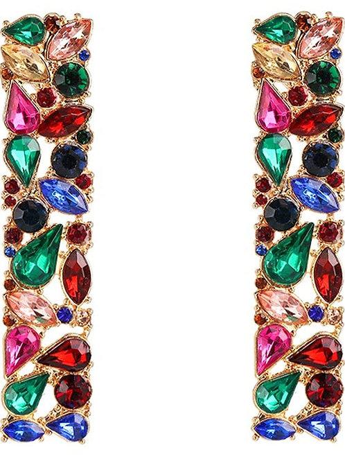 Multi-colored Rhinestone Drop Earrings