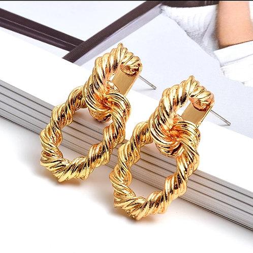 Gold Metal Hoops Drop Earrings