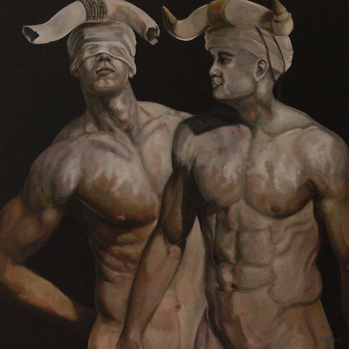 17016-HOMMES TAUREAUX XIX-huile sur toile de lin-100x100cm
