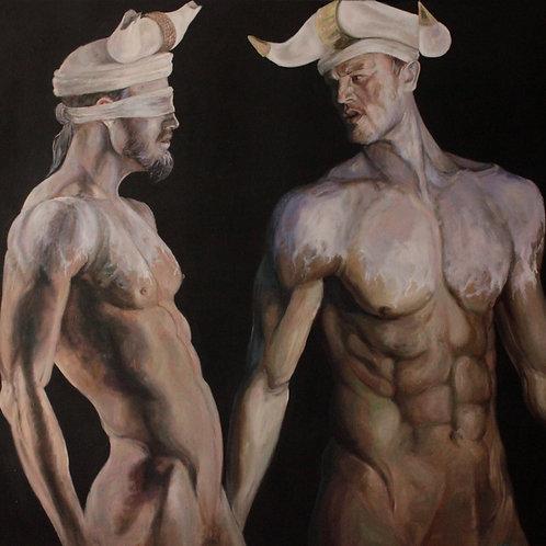 16066-HOMMES-TAUREAUX-XVII-huile sur toile de lin-120x120cm
