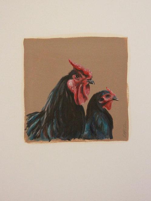 17030-POULE ET COQ NOIRS-huile sur contrecollé-vignette 20x20 cm