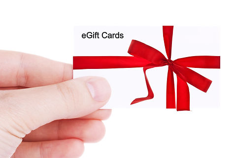 Hand holding and showing a gift card iso