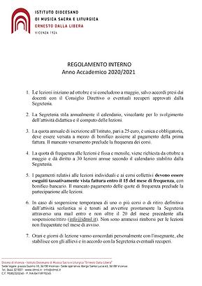 RTegolamento interno 2020