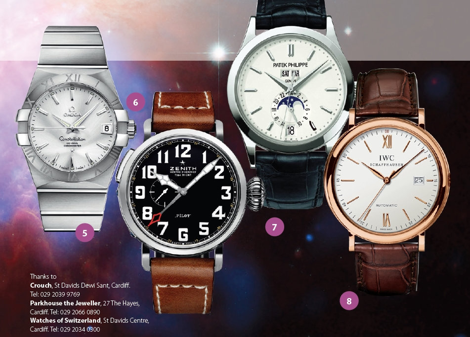 omega constellation, zenith pilot type 20 gmt, patek philippe complicarions 5396, iwc portofino automatic, watches, crouch, parkhouse the jeweller, watches of switzerland