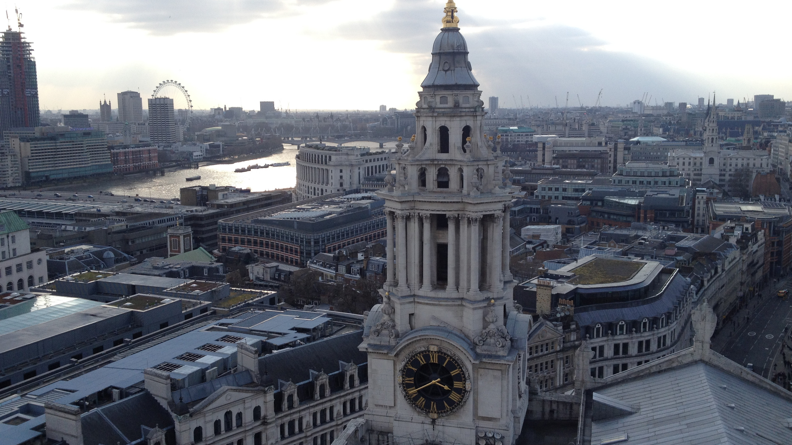 From the top of St. Paul's Cathedral with the Thames River in the background, London