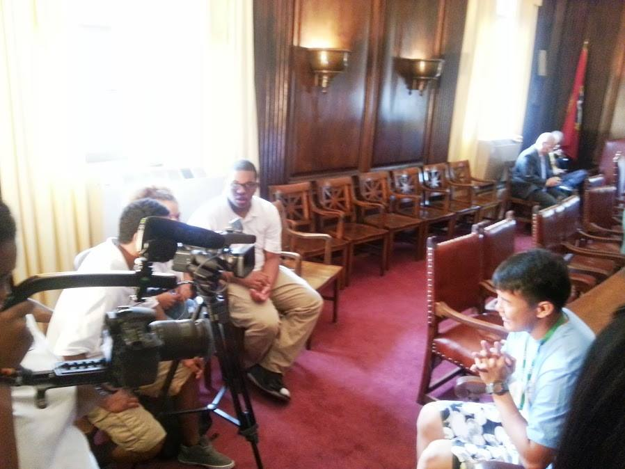 Students conduct interviews at City