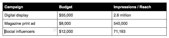 summary of marketing campaigns with budget and reach