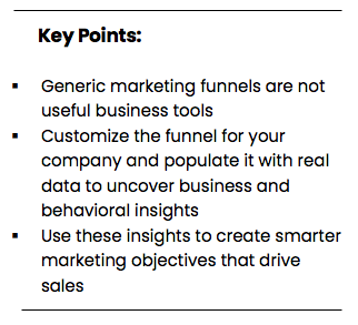 Customize the funnel for your company and populate it with real data to uncover business and behavioral insights
