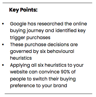 Applying all six heuristics to your website can convince 90% of people to switch their buying preference to your brand