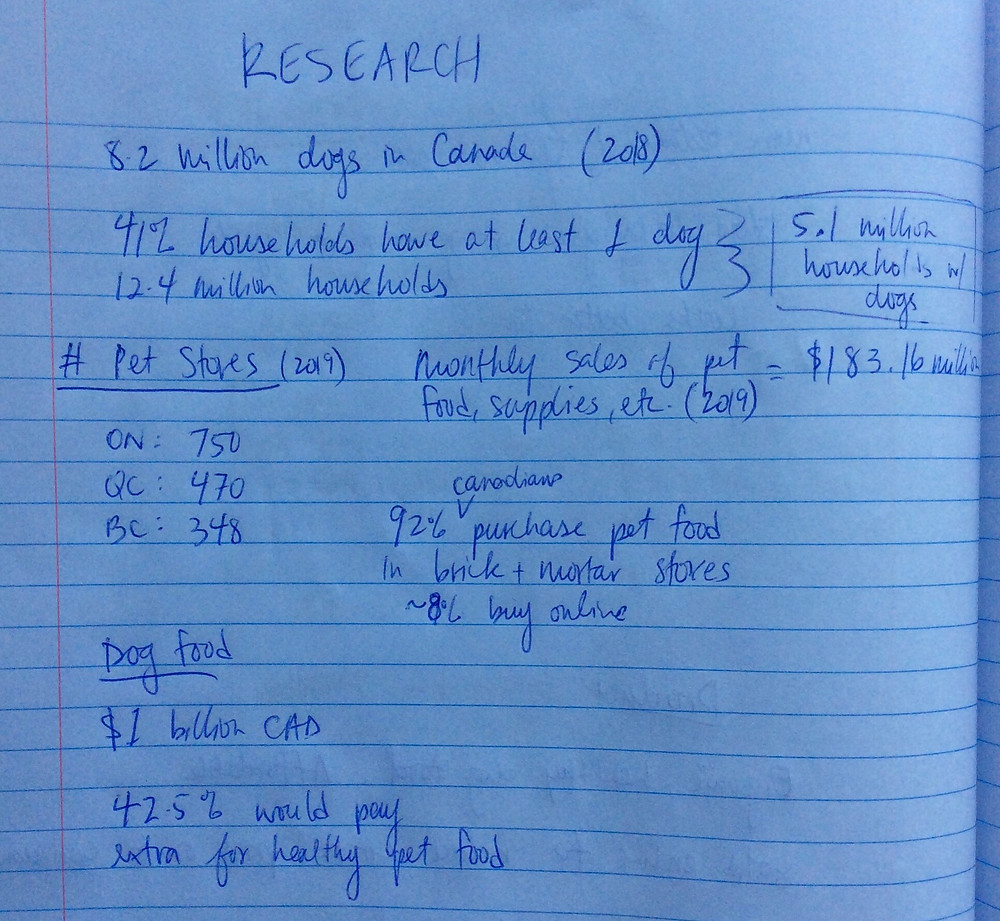 Dog food market research written in a notebook