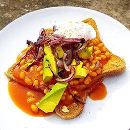 Beans, Avo & Egg on Toast