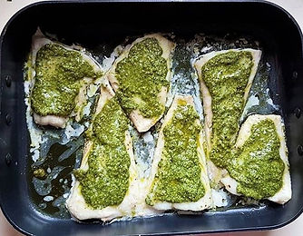 Baked Pesto Fish & Peppers