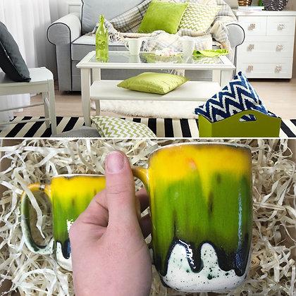 Kubek żółto- zielono- kremowy
