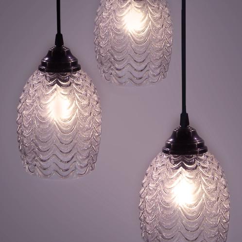 handmade lighting fixtures. Dlightstore | 3 Piece Hanging Lamp, Clear Glass Embossed Shades Lamps  Kfar Tavor Dlighstore Handmade Lighting Fixtures Handmade Lighting