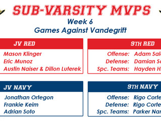Congratulations Players of the Week for Week 6