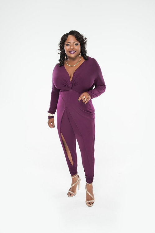 Monif C Purple Jumpsuit 1x