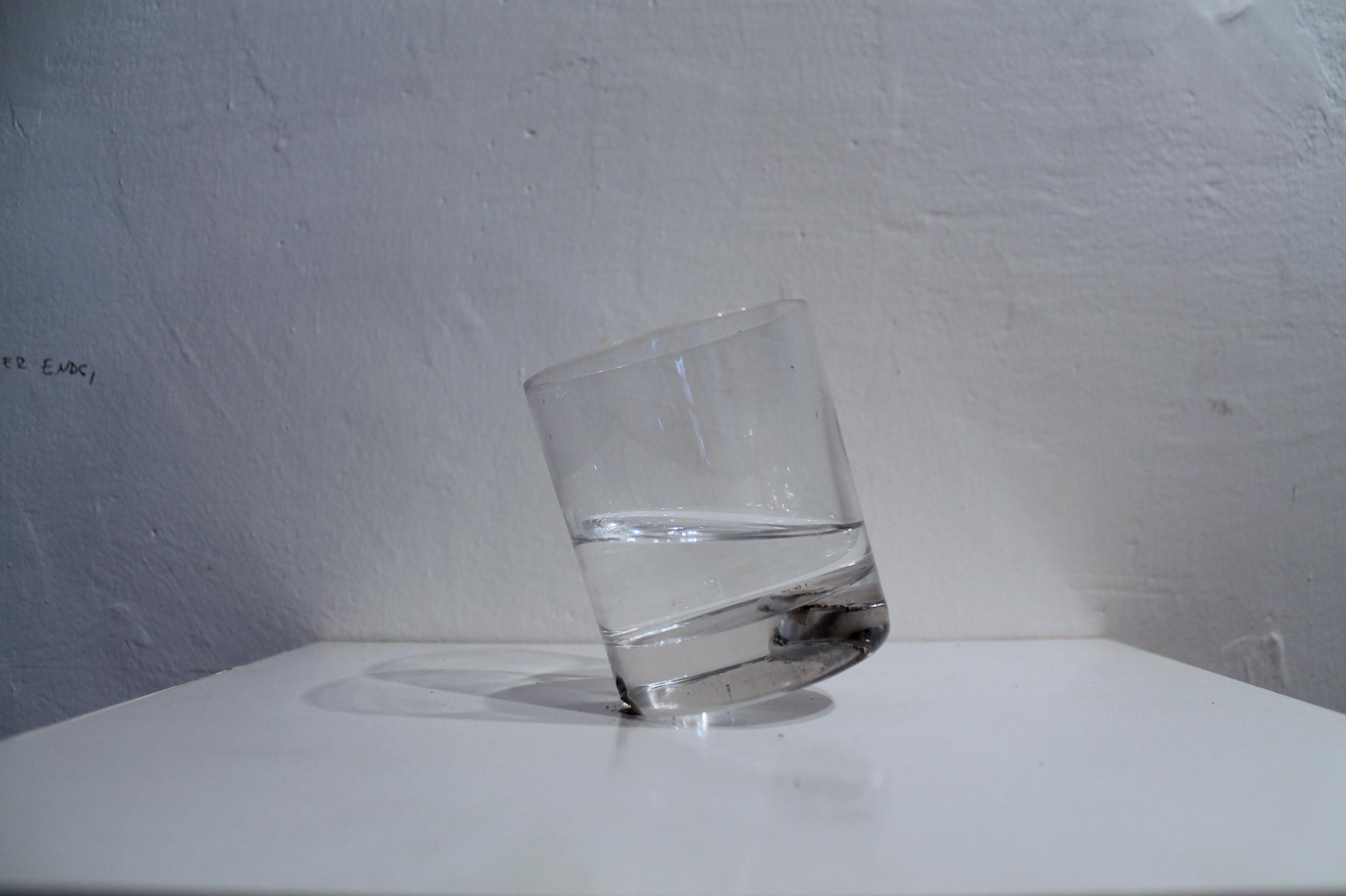 GLASS, (glass of water balanced on edge) , glass, neodym magnets