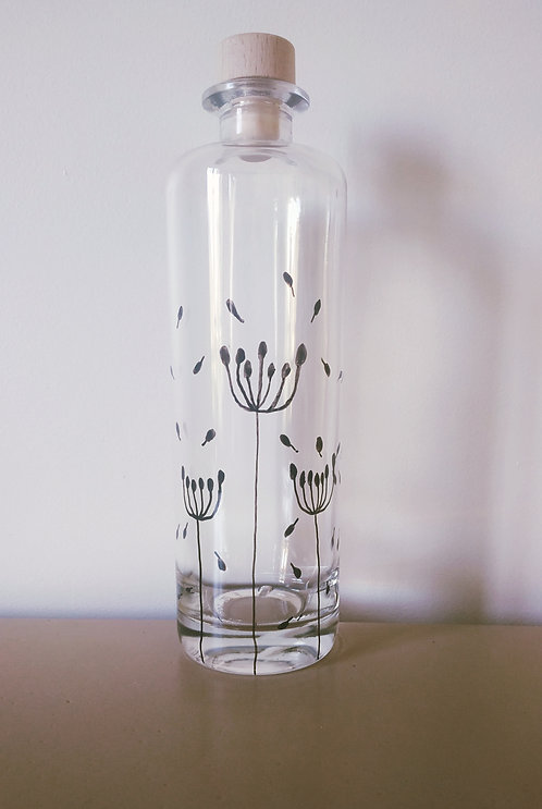 Bouteille motifs Fleurs des champs, peinte à la main