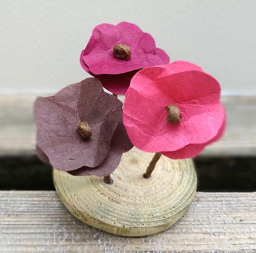 Trio de fleurs roses