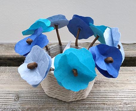 Bougeoir fleurs bleues