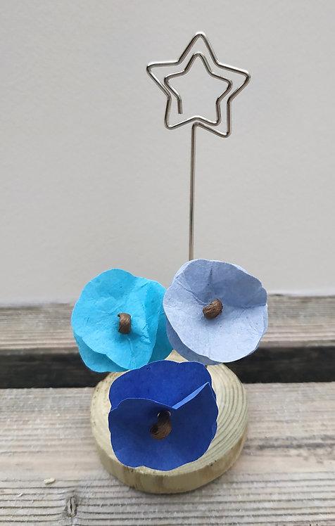 Porte photo fleurs bleues