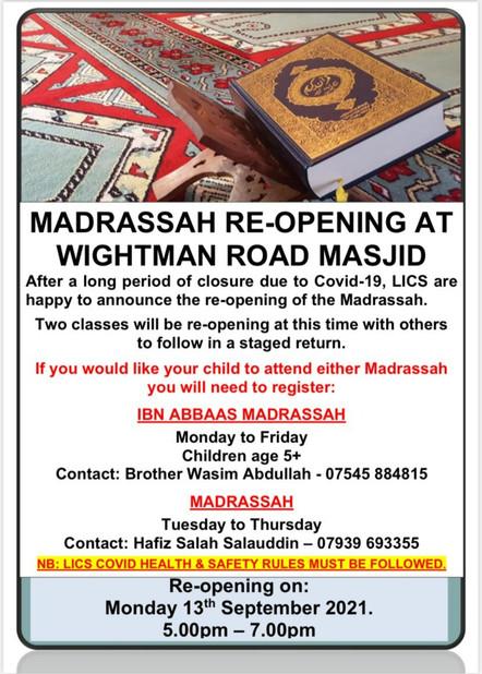 Madrassah Re-Opening
